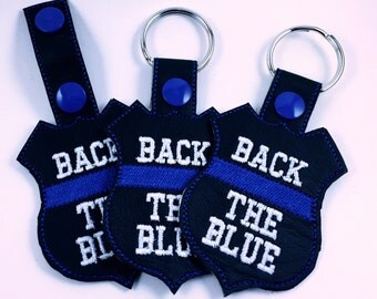 Police key chain, police key fob, black and blue, back the blue