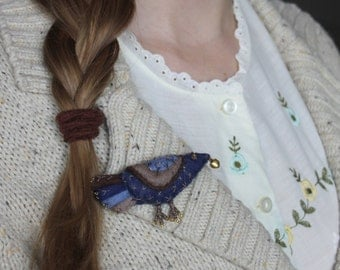 """Felt brooch """"Blue bird"""", bird of happiness, bird of luck"""