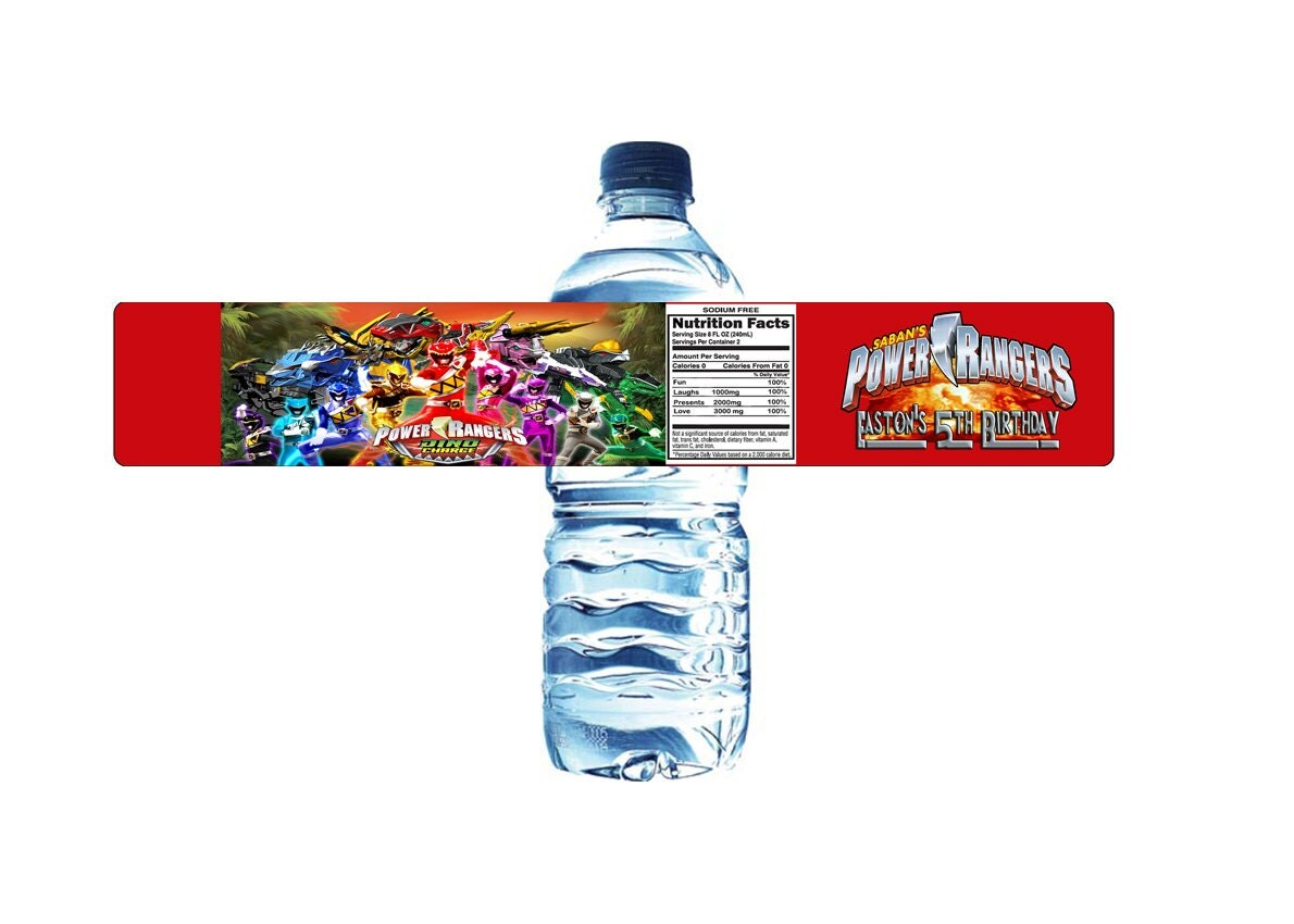 Power Rangers Dino Charge Personalized Water by Photoshopify