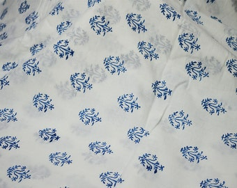 Hand Printed Fabric - Block Print Cotton Fabric - Cotton fabric by the yard - Indian cotton Fabric in blue, fabric for summer breezy dresses