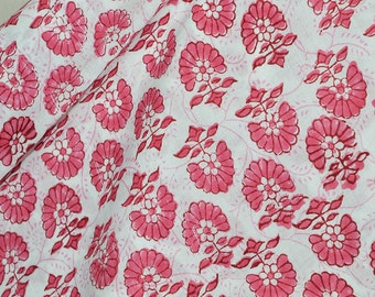 Wooden Hand Block Printed Soft Cotton Floral Print Fabric by Yard costume fabric, Sewing, Crafting, Quilting