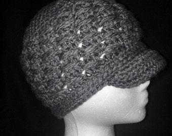 Grey women's winter hat with brim