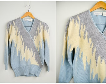 80s Metallic Sweater, Vintage Clothing, 80s Clothing, 80s Party, 80s Clothes, Sequins, Party Sweater, New Years, Blue, Retro