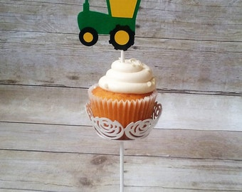 Tractor Cupcake Toppers - party supplies - boy birthday