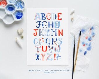 Alphabet Sailor / Watercolor Lettering / Watercolor Illustration / Hand Lettering / Art Print