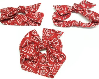 Red bandana Headwrap,Red paisley bandana,Baby bandana Headwrap,Red Paisley knot headband,baby big  bow, photo prop,Top knot,turban,headband