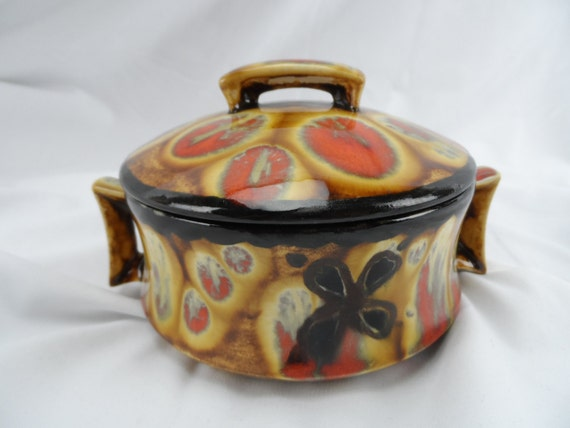 Pottery Casserole Dish Arnel's 1969 covered dish-Artist Signed Brown and orange