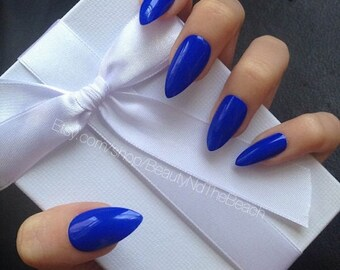 Royal Blue stiletto press on fake nails