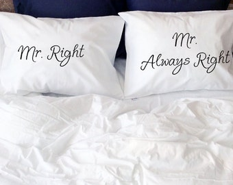 Gay Wedding Gift Mr Right Mr Always Right gay couple pillow cases Mr and Mr gay anniversary gift LGBT same sex couple gifts two grooms gays