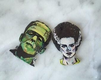 Frankenstein and His Bride Earrings