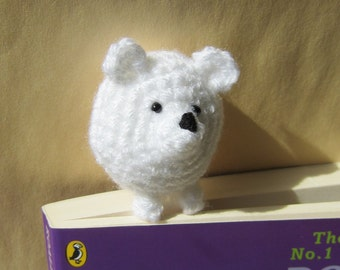 Book Buddy Polar Bear Bookmark - Crochet Amigurumi Gift, Toy, Finished Product