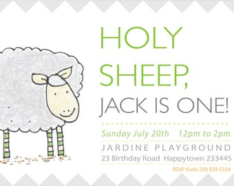 cheeky sheep NO.3 - farm invitation - kids invitation - boys invitation - printable invitation - Holy Sheep!