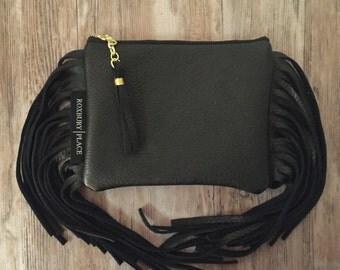 Fringe Leather Bag, Black Fringe Purse, Boho Leather Handbag, Leather Fringe Clutch, Black Fringe Bag Made in the USA