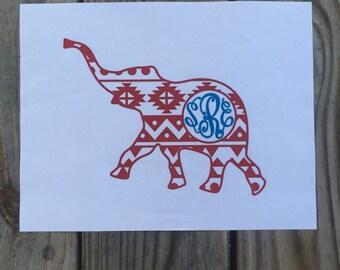Aztec Elephant Iron-On Vinyl Decal~ Glitter Iron-On Vinyl Decal~ Iron-On Vinyl Decal~Alabama Elephant Iron-On Decal