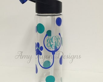Monogrammed Veterinarian Water Bottle, Vet Tech Custom Bottle, Vet Custom Bottle, Custom Vet Gift, Vet Technician Gift