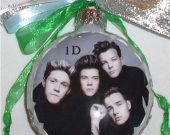 1 Direction inspired tribute Glass Christmas Ornament