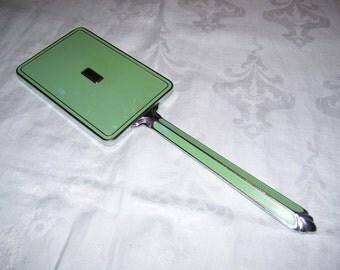 Art Deco Mirror Green Handheld Mirror Vanity Mirror Celluloid Vintage