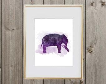 Watercolor Elephant Digital Print 8x10 Instant Download Wall Art