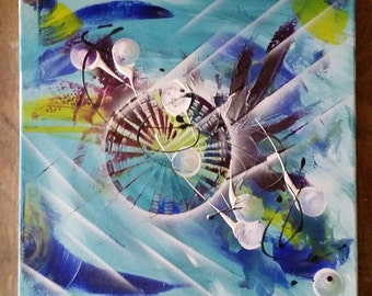 Abstract painting blue turquoise violet white 40 / 40cm