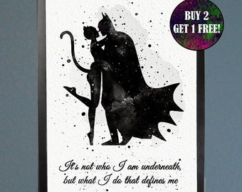 Batman and Catwoman Watercolor Fine Art Print Wall Poster Home Decor Painting Giclee Illustration No 163