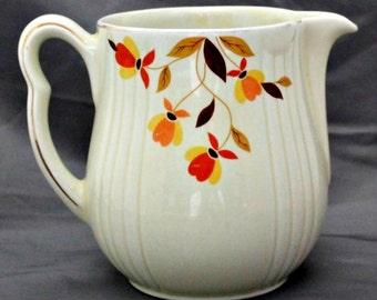 "Vintage Hall ""Autumn Leaf"" Milk Jug Pitcher, Mary Dunbar, Jewel Tea Company Exclusive, Circa 1930s"