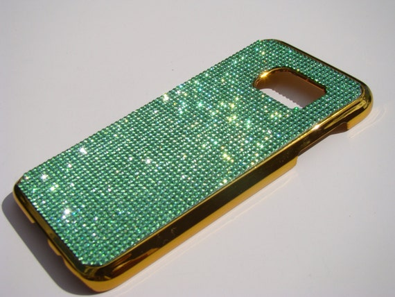 Galaxy S7 Green Peridot  Rhinestone Crystals on Gold Chrome Case. Velvet/Silk Pouch Bag Included, Genuine Rangsee Crystal Cases