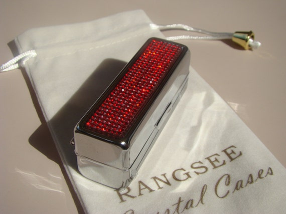 Lipstick Case with Mirror, Lipstick Box,  with Red Siam Rhinestone Crystals, Silk/Velvet bag incluede. Genuine Rangess Crystal Cases