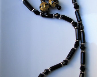 Hand Carved Onyx/Agate Dragon Necklace & Earrings