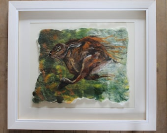 Run Like The Wind, beautiful study of a running hare, professionally framed
