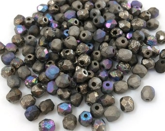 100 pcs 4mm Faceted Round Fire Polished Beads, Etched Crystal Glittery Graphite