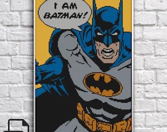 Batman Cross Stitch Pattern INSTANT DOWNLOAD
