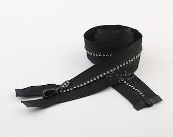 60cm/70cm/80cm long RHINESTONE ZIPPERS BLACK Great for Western Shirt x 5 pcs