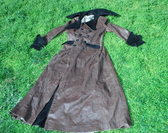vintage north beach leather one of a kind goth steampunk  rockstar glam overcoat 1960s