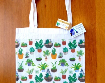 Plant pattern tote bag - grocery bag with double-sided illustrated print