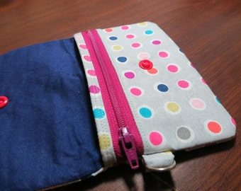 Zippered Grey Snappy Coin Pouch Mini Wallet Polka Dot