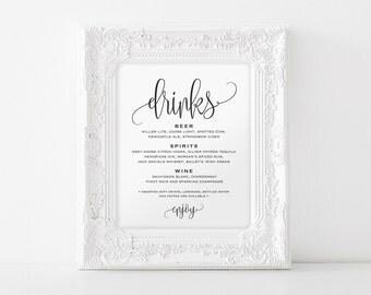 Drinks Sign, Bar Sign, Bar Menu Sign, Drinks Menu Sign, Drinks Printable, Wedding Bar Menu, Wedding Sign, PDF Instant Download #BPB203_58
