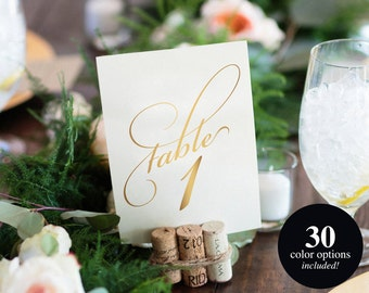 Wedding Table Numbers, Gold Table Numbers, Script Table Numbers, 5x7, Table Numbers Printable Template, PDF Instant Download #BPB86