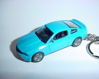 3D 2010 Ford Mustang GT custom keychain by Brian Thornton keyring key chain finished in dark blue color trim hood opens!