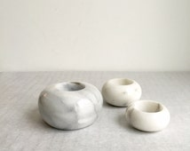 Vintage marble, candle holder, set of three, modern design, black and white, retro,