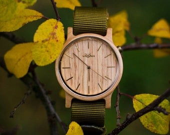 Elegant Handmade Wood Watches With Czech Design Made From Maple With Khaki Nato Strap