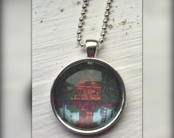Treehouse Art Pendant and Chain Necklace- Original Painting Domed Glass Silver Pendant Handmade