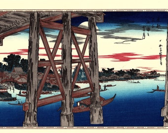 "Japanese Ukiyoe, Woodblock print, antique, Hiroshige, ""Evening Moon at Ryôgoku Bridge"""