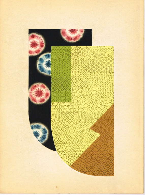 Japanese antique woodblock print, Kimono Design, Kano Shuho, Kuniyoshi-gonomi.