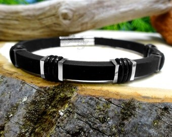 Black & Silver Rubber Bracelet with Steel Accents