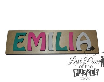 Hand Crafted Personalized Wooden Name Puzzles Great Personalized Baptism Gift In Pink, White & Teal Their First Educational Toy id247767126