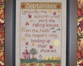 SEPTEMBER SAMPLER; Pattern for Counted Cross Stitch; Instant PDF Download; Autumn, Harvest Moon