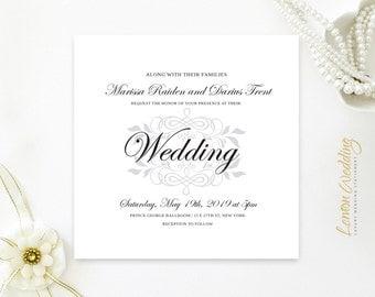 Classy wedding invitation square | Silver, black and white wedding invites printed | Elegant traditional wedding invitations