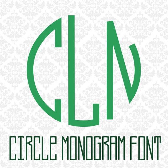 Circle Monogram Font OTF Letters Monograms Alphabet SVG DXF Ai Eps Png Vector Files Instant Download Commercial Cut File Cricut Silhouette