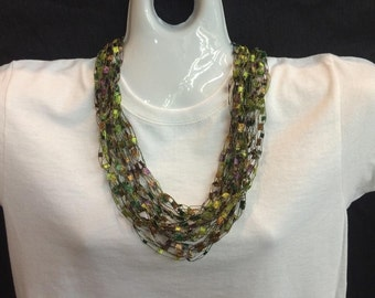 Pink and green crocheted ribbon necklace #73