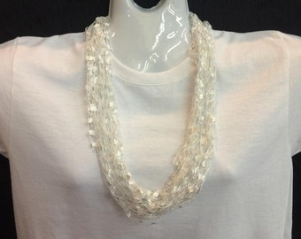 White crocheted ribbon necklace #100